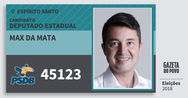 Santinho Max da Mata 45123 (PSDB) Deputado Estadual | Espírito Santo | Eleições 2018