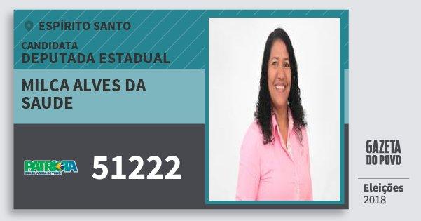 Santinho Milca Alves da Saude 51222 (PATRI) Deputada Estadual | Espírito Santo | Eleições 2018