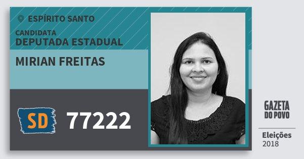 Santinho Mirian Freitas 77222 (SOLIDARIEDADE) Deputada Estadual | Espírito Santo | Eleições 2018