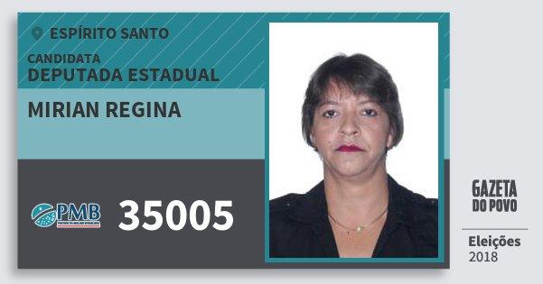 Santinho Mirian Regina 35005 (PMB) Deputada Estadual | Espírito Santo | Eleições 2018