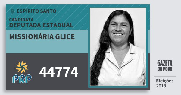 Santinho Missionária Glice 44774 (PRP) Deputada Estadual | Espírito Santo | Eleições 2018