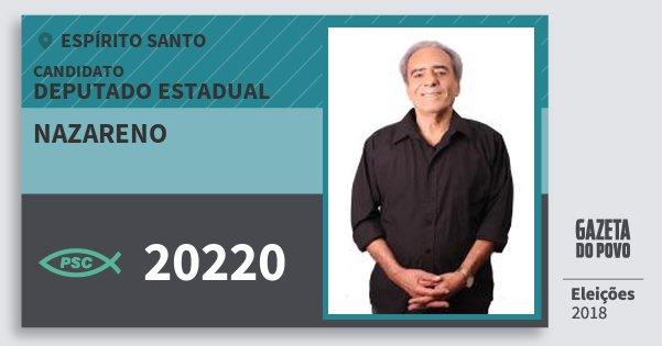 Santinho Nazareno 20220 (PSC) Deputado Estadual | Espírito Santo | Eleições 2018