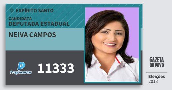 Santinho Neiva Campos 11333 (PP) Deputada Estadual | Espírito Santo | Eleições 2018