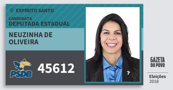 Santinho Neuzinha de Oliveira 45612 (PSDB) Deputada Estadual | Espírito Santo | Eleições 2018