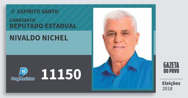 Santinho Nivaldo Nichel 11150 (PP) Deputado Estadual | Espírito Santo | Eleições 2018