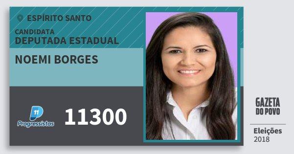 Santinho Noemi Borges 11300 (PP) Deputada Estadual | Espírito Santo | Eleições 2018