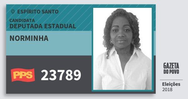 Santinho Norminha 23789 (PPS) Deputada Estadual | Espírito Santo | Eleições 2018