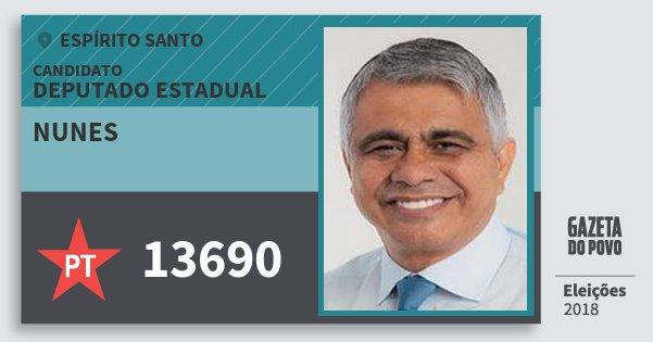 Santinho Nunes 13690 (PT) Deputado Estadual | Espírito Santo | Eleições 2018