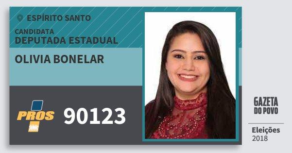 Santinho Olivia Bonelar 90123 (PROS) Deputada Estadual | Espírito Santo | Eleições 2018