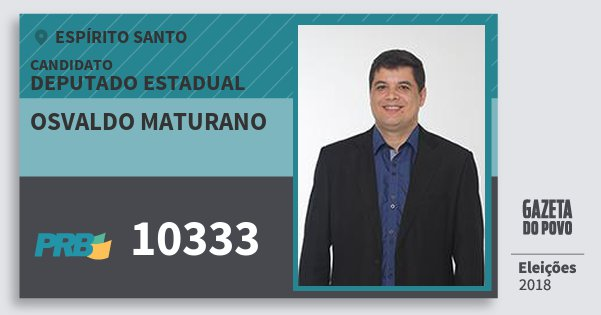 Santinho Osvaldo Maturano 10333 (PRB) Deputado Estadual | Espírito Santo | Eleições 2018
