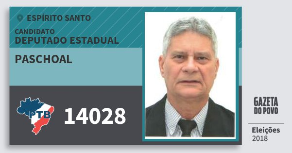 Santinho Paschoal 14028 (PTB) Deputado Estadual | Espírito Santo | Eleições 2018