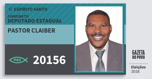Santinho Pastor Claiber 20156 (PSC) Deputado Estadual | Espírito Santo | Eleições 2018
