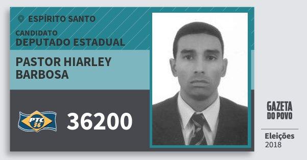 Santinho Pastor Hiarley Barbosa 36200 (PTC) Deputado Estadual | Espírito Santo | Eleições 2018
