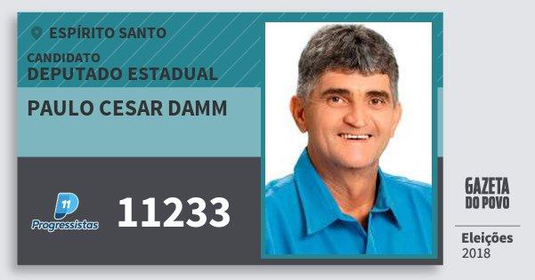 Santinho Paulo Cesar Damm 11233 (PP) Deputado Estadual | Espírito Santo | Eleições 2018