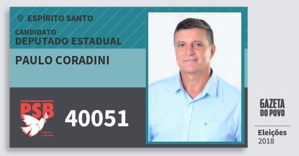 Santinho Paulo Coradini 40051 (PSB) Deputado Estadual | Espírito Santo | Eleições 2018