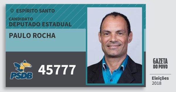 Santinho Paulo Rocha 45777 (PSDB) Deputado Estadual | Espírito Santo | Eleições 2018