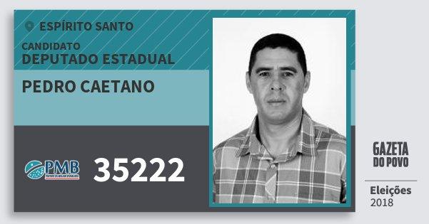 Santinho Pedro Caetano 35222 (PMB) Deputado Estadual | Espírito Santo | Eleições 2018