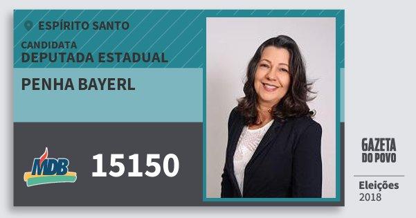 Santinho Penha Bayerl 15150 (MDB) Deputada Estadual | Espírito Santo | Eleições 2018