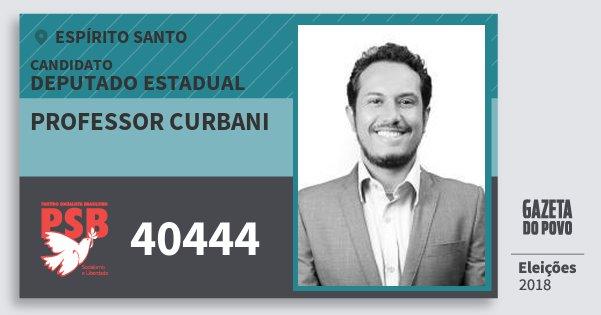 Santinho Professor Curbani 40444 (PSB) Deputado Estadual | Espírito Santo | Eleições 2018