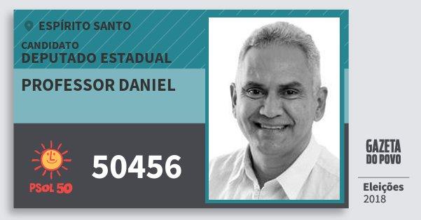 Santinho Professor Daniel 50456 (PSOL) Deputado Estadual | Espírito Santo | Eleições 2018