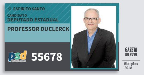 Santinho Professor Duclerck 55678 (PSD) Deputado Estadual | Espírito Santo | Eleições 2018