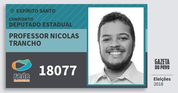 Santinho Professor Nicolas Trancho 18077 (REDE) Deputado Estadual | Espírito Santo | Eleições 2018