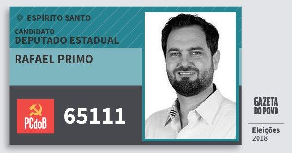 Santinho Rafael Primo 65111 (PC do B) Deputado Estadual | Espírito Santo | Eleições 2018