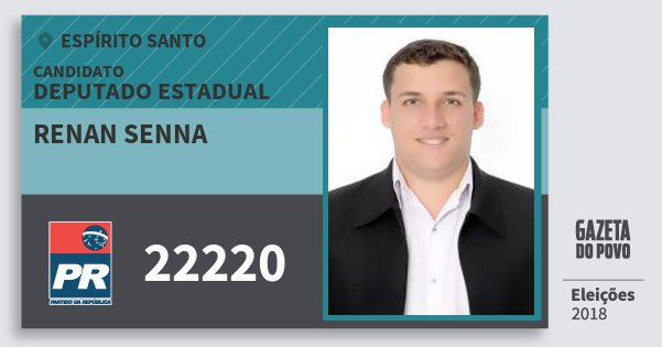 Santinho Renan Senna 22220 (PR) Deputado Estadual | Espírito Santo | Eleições 2018