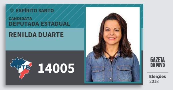 Santinho Renilda Duarte 14005 (PTB) Deputada Estadual | Espírito Santo | Eleições 2018
