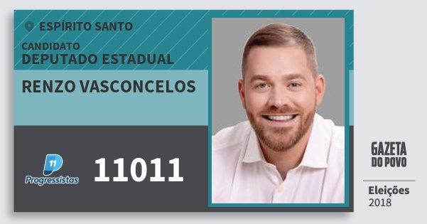 Santinho Renzo Vasconcelos 11011 (PP) Deputado Estadual | Espírito Santo | Eleições 2018
