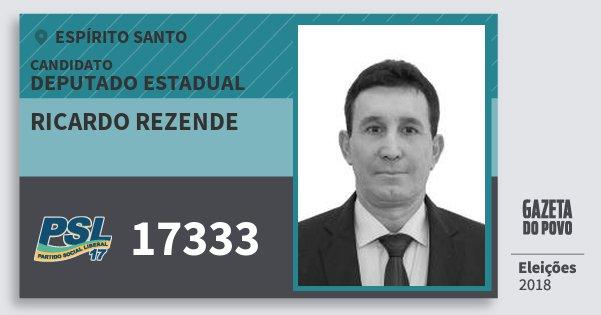 Santinho Ricardo Rezende 17333 (PSL) Deputado Estadual | Espírito Santo | Eleições 2018