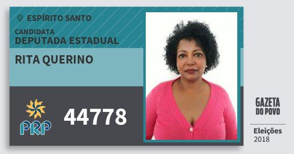 Santinho Rita Querino 44778 (PRP) Deputada Estadual | Espírito Santo | Eleições 2018
