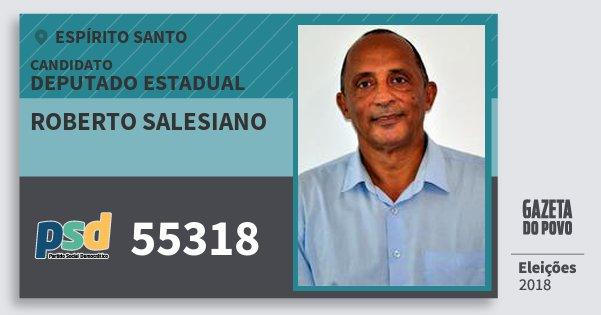 Santinho Roberto Salesiano 55318 (PSD) Deputado Estadual | Espírito Santo | Eleições 2018
