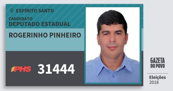 Santinho Rogerinho Pinheiro 31444 (PHS) Deputado Estadual | Espírito Santo | Eleições 2018