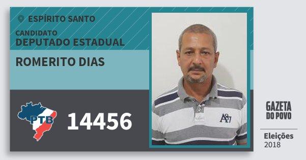 Santinho Romerito Dias 14456 (PTB) Deputado Estadual | Espírito Santo | Eleições 2018
