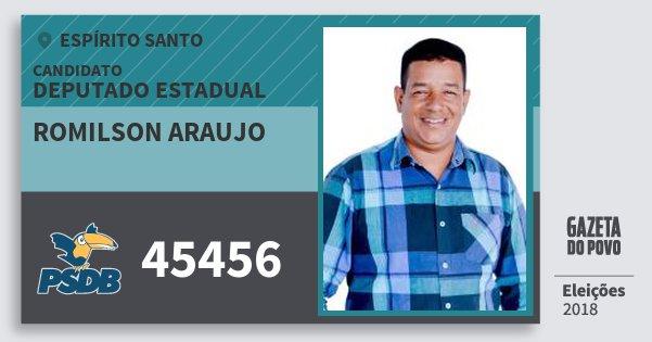Santinho Romilson Araujo 45456 (PSDB) Deputado Estadual | Espírito Santo | Eleições 2018