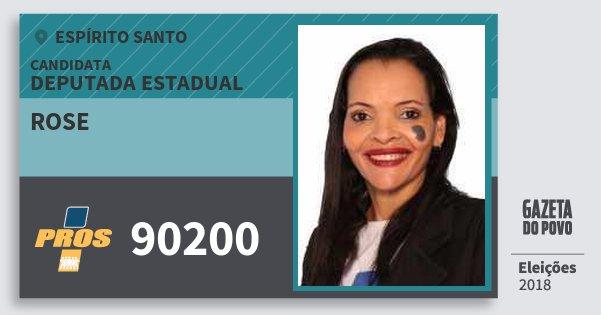 Santinho Rose 90200 (PROS) Deputada Estadual | Espírito Santo | Eleições 2018
