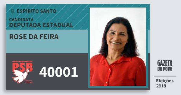 Santinho Rose da Feira 40001 (PSB) Deputada Estadual | Espírito Santo | Eleições 2018