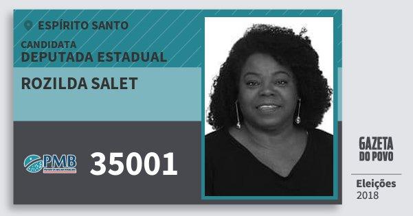 Santinho Rozilda Salet 35001 (PMB) Deputada Estadual | Espírito Santo | Eleições 2018