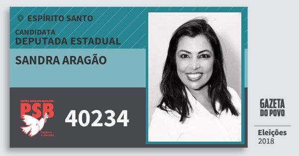 Santinho Sandra Aragão 40234 (PSB) Deputada Estadual | Espírito Santo | Eleições 2018