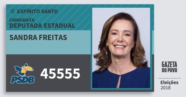 Santinho Sandra Freitas 45555 (PSDB) Deputada Estadual | Espírito Santo | Eleições 2018