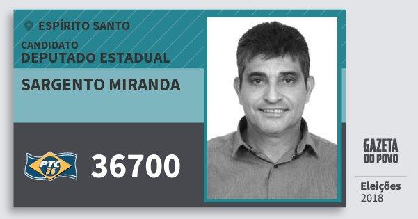 Santinho Sargento Miranda 36700 (PTC) Deputado Estadual | Espírito Santo | Eleições 2018