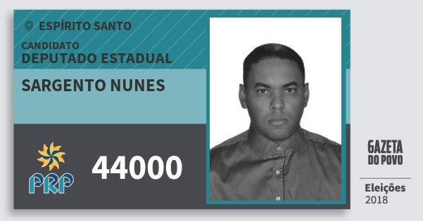 Santinho Sargento Nunes 44000 (PRP) Deputado Estadual | Espírito Santo | Eleições 2018