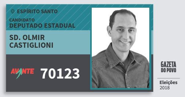 Santinho Sd. Olmir Castiglioni 70123 (AVANTE) Deputado Estadual | Espírito Santo | Eleições 2018