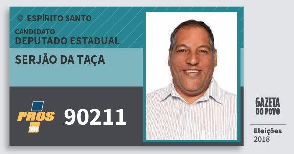 Santinho Serjão da Taça 90211 (PROS) Deputado Estadual | Espírito Santo | Eleições 2018