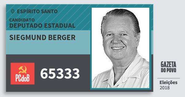 Santinho Siegmund Berger 65333 (PC do B) Deputado Estadual | Espírito Santo | Eleições 2018