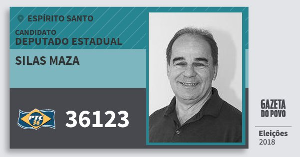 Santinho Silas Maza 36123 (PTC) Deputado Estadual | Espírito Santo | Eleições 2018