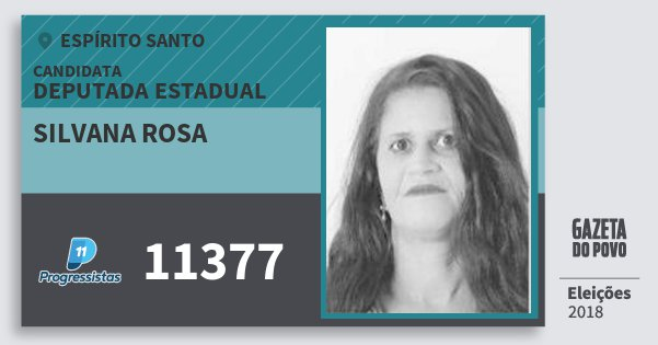 Santinho Silvana Rosa 11377 (PP) Deputada Estadual | Espírito Santo | Eleições 2018