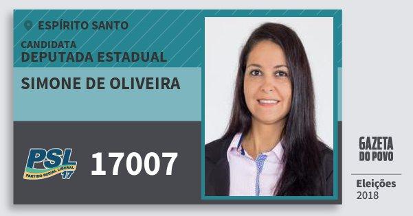 Santinho Simone de Oliveira 17007 (PSL) Deputada Estadual | Espírito Santo | Eleições 2018