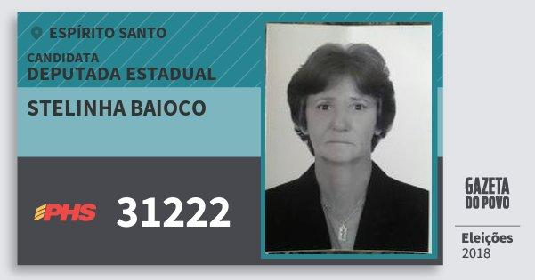 Santinho Stelinha Baioco 31222 (PHS) Deputada Estadual | Espírito Santo | Eleições 2018